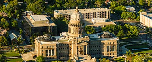 Arial view of the capitol in Boise Idaho