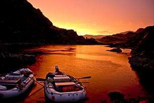 Orange sunsetting on the Snake River in Hells Canyon, Idaho