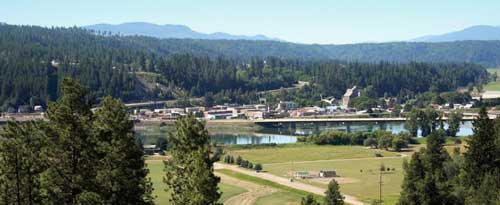 The Kootenai River runs through beautiful downtown Bonners Ferry, Idaho