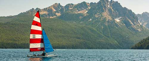 Catamaran Sailing, Redfish Lake, Near Stanley, Idaho