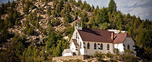 White church buidling in Silver City, Idaho