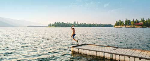 Swimming at Lake Cascade, Cascade, Idaho